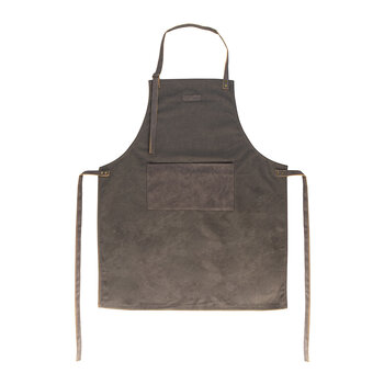 Canvas Apron With Pu Pockets - Dark Grey