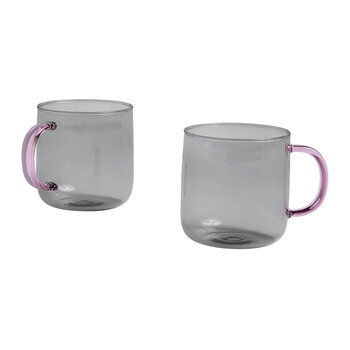 Borosilicate Glass Mug - Set Of 2 - Pink/Gray