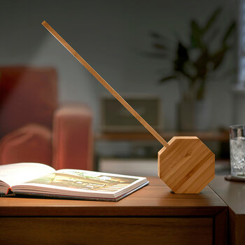 Octagon Portable Alarm Clock & Desk Light - Natural Bamboo Wood