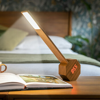 Octagon Portable Alarm Clock & Desk Light - Natural Cherry Wood