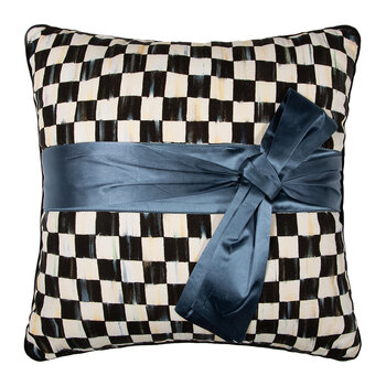 Courtly Check Sash Pillow - 50x50cm - Teal