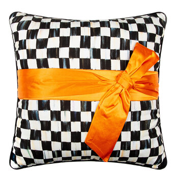 Courtly Check Sash Pillow - 50x50cm - Orange