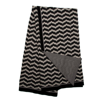 Flamestitch Throw - Black & Ivory