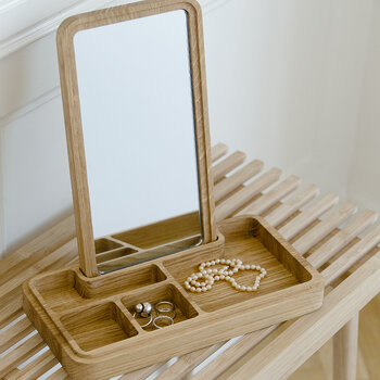 Mirror & Jewellery Box - Oak