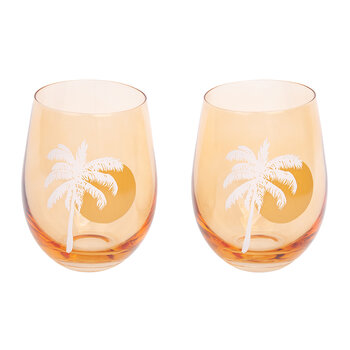 Cheers Stemless Tumblers - Set of 2 - Desert Palms - Peachy Pink