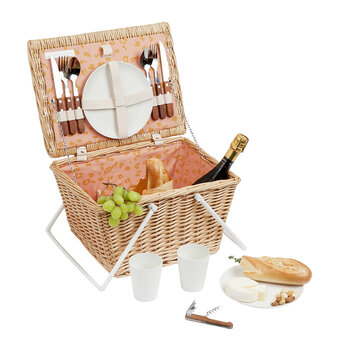 Eco Picnic Cooler Basket - Call Of The Wild - Peachy Pink - Small