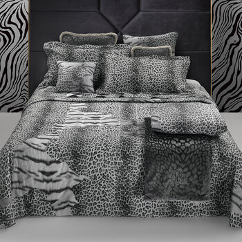 Tiger Leopard Bed Set - Black/White