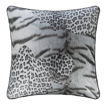 Tiger Leopard Silk Cushion - Black/White