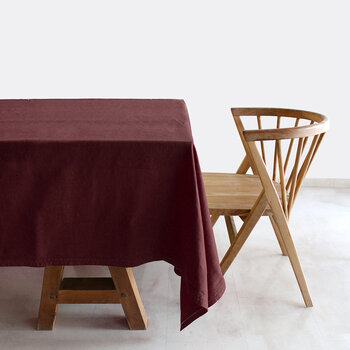 Pure Washed Linen Tablecloth - 180x300cm - Burgundy
