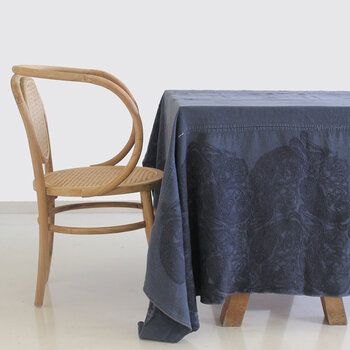 Washed Linen Embroidered Tablecloth - 170x250cm - Blue Mosque