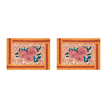 Three Roses Placemat - Pink/Orange - Set of 2