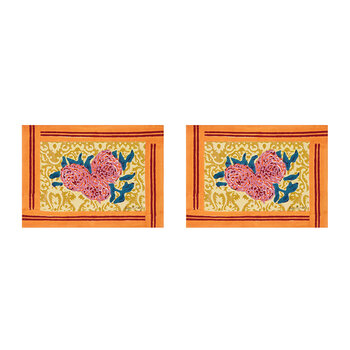 Three Roses Placemat - Yellow/Orange - Set of 2