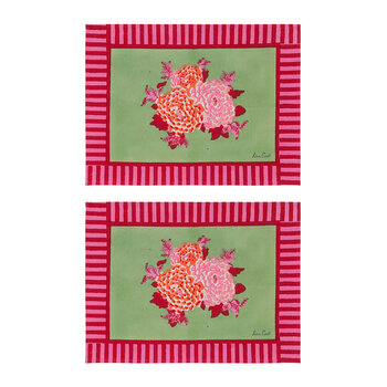 Roses And Stripes Placemat - Pink/Green