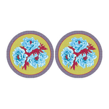 Floral Round Coaster - Set Of 2 - Lime/Blue