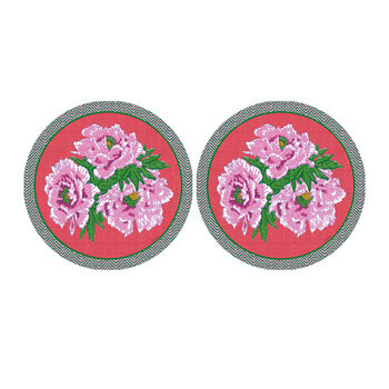 Floral Round Coaster - Set Of 2 - Pink/Red