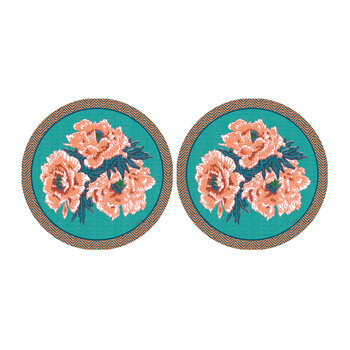 Floral Round Coaster - Set Of 2 - Blue/Coral