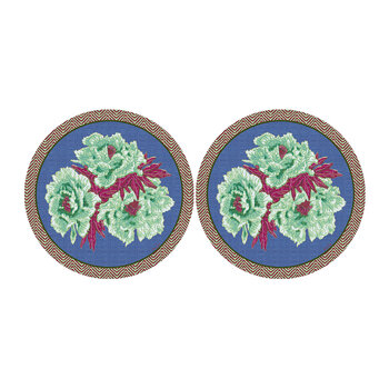 Floral Round Coaster - Set Of 2 - Green/Blue