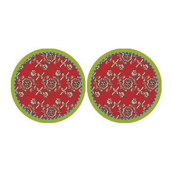 Jacquard Inspired Coaster - Set Of 2 - Red/Green