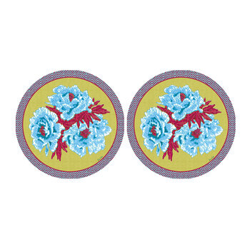 Floral Round Placemat - Set Of 2 - Lime/Blue