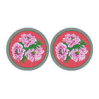 Set de Table Rond Floral - Lot de 2 - Rose/Rouge