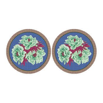 Floral Round Placemat - Set Of 2 - Green/Blue