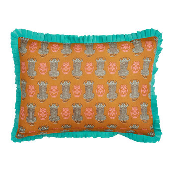 Abstract Frilled Cushion - 35x50cm - Green/Mustard