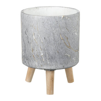 Marble Cement Planter - Gray