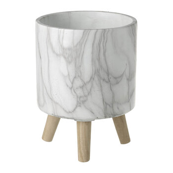 Marble Cement Planter - White