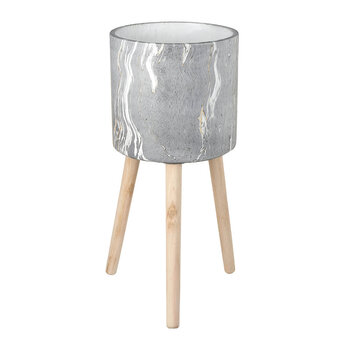 Marble Cement Tall Planter - Gray