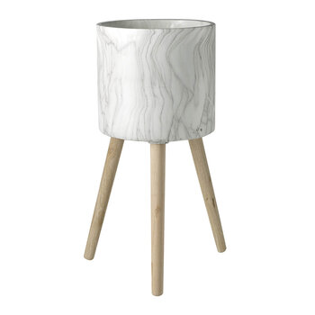 Marble Cement Tall Planter - White