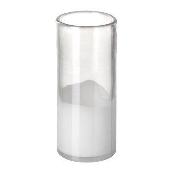 Savoy Cylinder Vase - White/Clear - Small