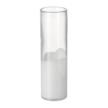 Savoy Cylinder Vase - White/Clear - Large