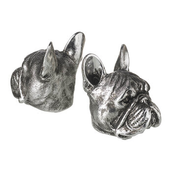 French Bulldog Bookends - Set of 2 - Silver