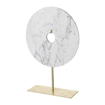 Marble Disc On Stand - White