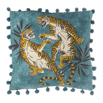 Fighting Tiger Cushion - 45x45cm - Teal