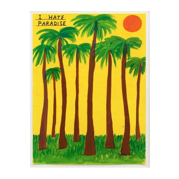 I Hate Paradise Tea Towel By David Shrigley - Green/Yellow