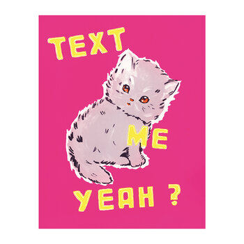 Text Me Yeah Tea Towel By Magda Archer - Pink