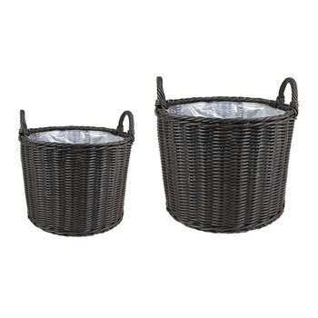 Polyrattan Outdoor Lined Planter - Set Of 2 - Willow