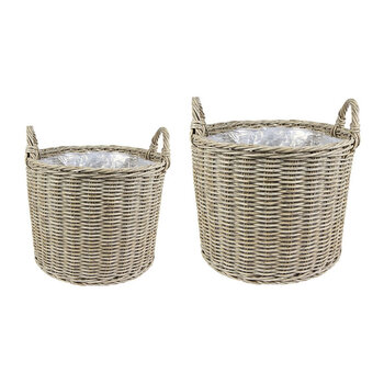 Polyrattan Outdoor Lined Planter - Set Of 2 - Natural