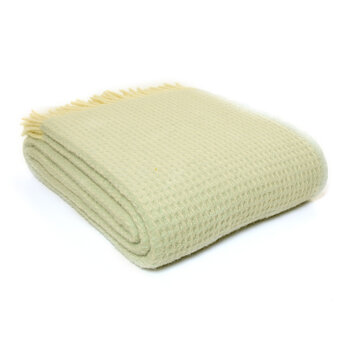 Pure New Wool Waffle Throw - Frost