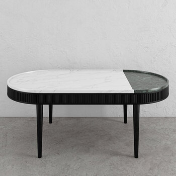 Mausam Oval Coffee Table - Black Ash/Green/White
