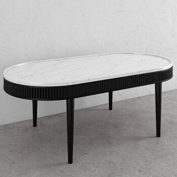 Mausam Oval Coffee Table - Black Ash/White