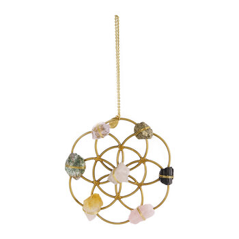 Crystal Grid Flower of Life Ornament - Gold/Pink