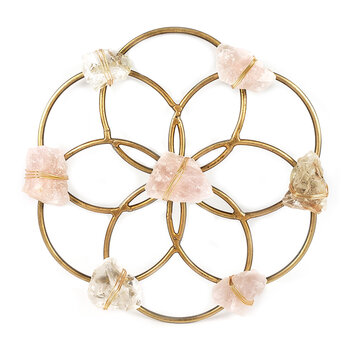 Flower of Life Healing Crystal Grid - Small - Rose Gold