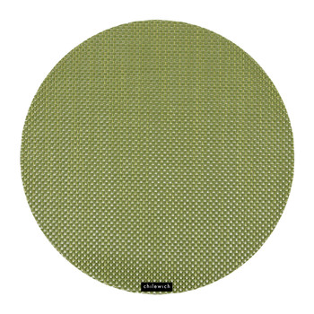 Basketweave Round Placemat - Grass Green