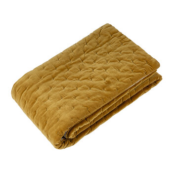 Velvet Linen Bedspread/Quilted Throw - Golden Lichen