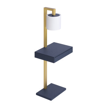 Ernesto Side Table With Lamp - Royal Blue G12/Brass