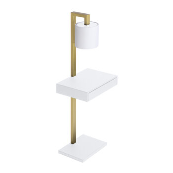 Ernesto Side Table With Lamp - White G05/Brass