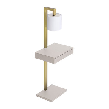 Ernesto Side Table With Lamp - Light Grey G37/Brass