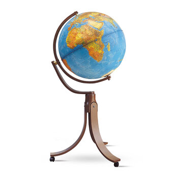 Emily Illuminated Hardwood Globe - 50cm - Blue